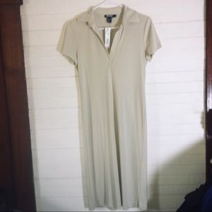 BNWT DKNY Short Sleeve Tan Polo Shirt Dress